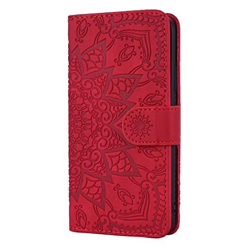 for Xiaomi Mi 10T Lite 5G Case, Shockproof PU Leather Flip Wallet Phone Case Embossed Mandala TPU Bumper Protective Cover with Card Holders Magnetic Closure Kickstand for Xiaomi Mi 10T Lite 5G red