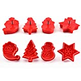 Christmas Themed Cookie Cutter Set - Plastic Spring Biscuits Pastry Cutter Set 3D Cookie Cake Plunger Cutter Baking Mould, 4 Pack Christmas Cookie Cutters