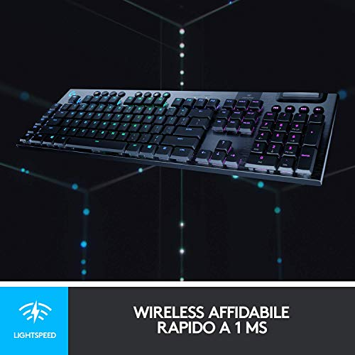 Logitech G 915 Tastiera Gaming Meccanica Wireless Light Speed, Clicky Switches, US Intl. Layout, Sistema RGB, Nero (Carbon)