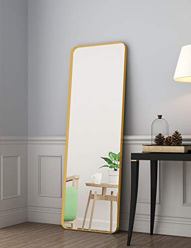 """NXHOME Metal-Framed Full Length Mirror - 65""""×22"""" Gold Large Floor Mirror Standing Hanging or Leaning Against Wall, Modern Dressing Mirror Wall-Mounted Mirror for Bedroom Locker Room Living Room"""