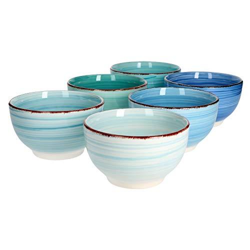 Ensemble de bols de service 6 pièces Bols ronds bleus Baita pour salade de fruits, muesli et soupe Bols de snack 650 ml plats en faïence gastronomie