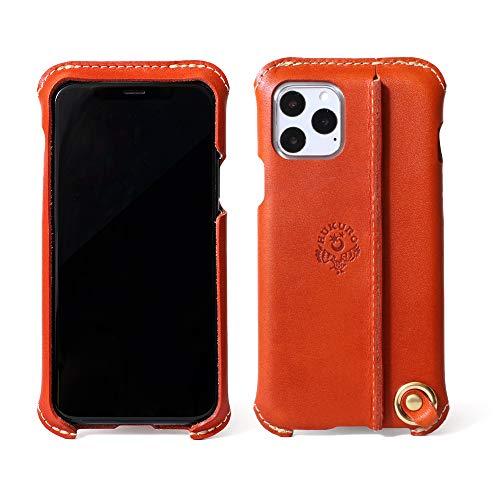 【HUKURO】iPhone11 Pro ケース iPhone11Pro ケース カバー 本革 栃木レザー メンズ レディース ハンドメイド 日本製(右手持ち,オレンジ)