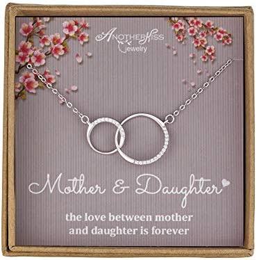 Mother Daughter Necklace Sterling Silver 2 Circle Infinity Necklace Mothers Day Jewelry Birthday product image