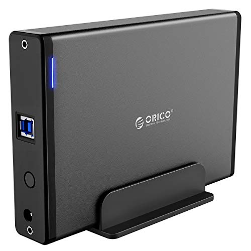 ORICO 3.5 External Hard Drive Enclosure USB3.0 Aluminum SATA HDD/SSD Hard Disk Case with 12V2A Power Adapter and Vertical Stand for 2.5/3.5inch Hard Drive Up to 16TB