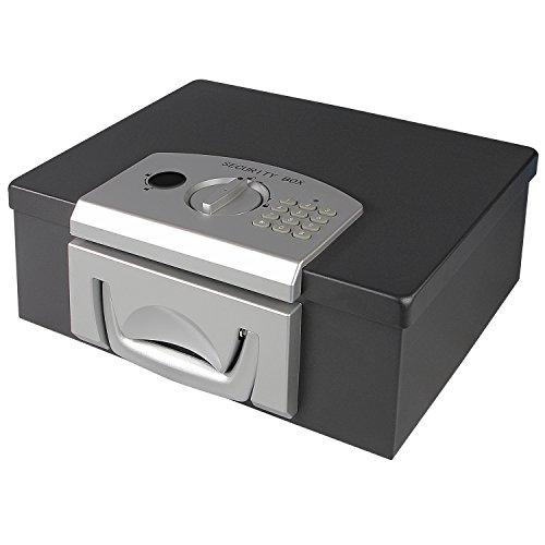 HMF 1006-02 Dokumentenbox mit Elektronikschloss | 32,5 x 25,5 x 12,5 cm | DIN A4 | Schwarz