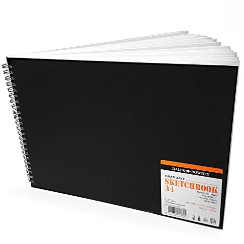 Daler Rowney - Skizzenbuch mit Spiralbindung, 160 g/m², 30 Seiten, A4 quer