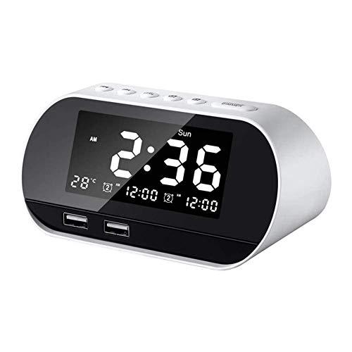Radio de reloj de alarma digital LED con radio FM, puerto USB dual para cargador, timer de sueño Dimmer Snooze, reloj despertador para dormitorios, reloj despertador ajustable, mesita de noche, escrit