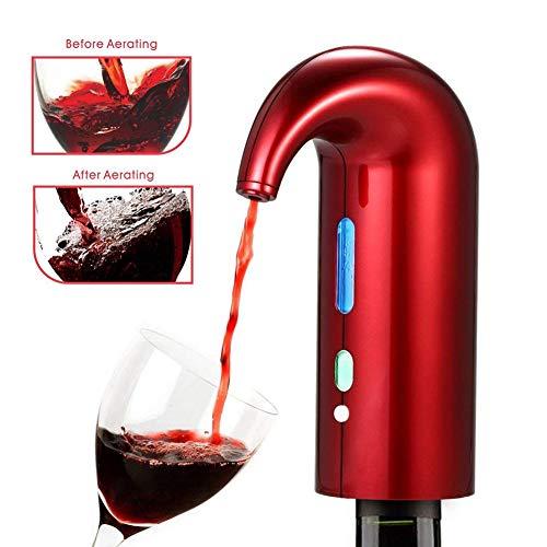 AKQ - Aireador de Vino eléctrico con un Toque de oxigenos, decantador de Vino, portátil, USB, Recargable, dispensador de Vino, Set de Regalo para los Amantes del Vino, Rojo