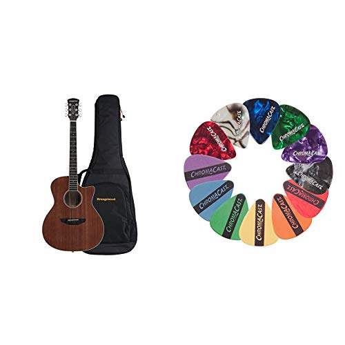 Orangewood 6 String Acoustic Guitar, Right, Mahogany, Cutaway (OW-REY-M) & ChromaCast CC-SAMPLE Sampler Guitar Picks (12 count)