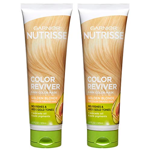 Garnier Nutrisse Color Reviver 5 Minute Nourishing Color Hair Mask, Golden Blonde, 4.2 fl. oz. (Pack of 2)
