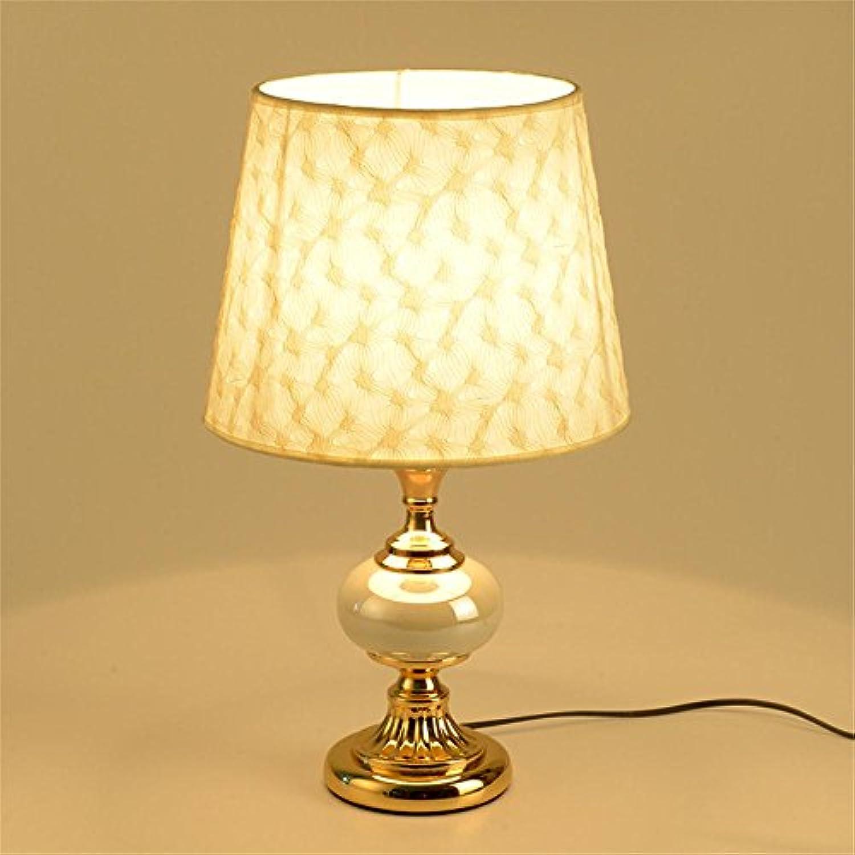 TOYM- Europische - Stil Schlafzimmer Keramik Nachttisch Lampe Wohnzimmer Studie Einfache Lampe (Farbe   Gold)