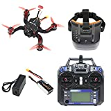 QWinOut DIY X4 194mm Carbon Fiber Frame FS-i6 Transmitter & Receiver Mini F4 Pro OSD 4 in 1 30A ESC Racing Drone Kit (with FPV Double Antenna 3 Inch Video Goggles)