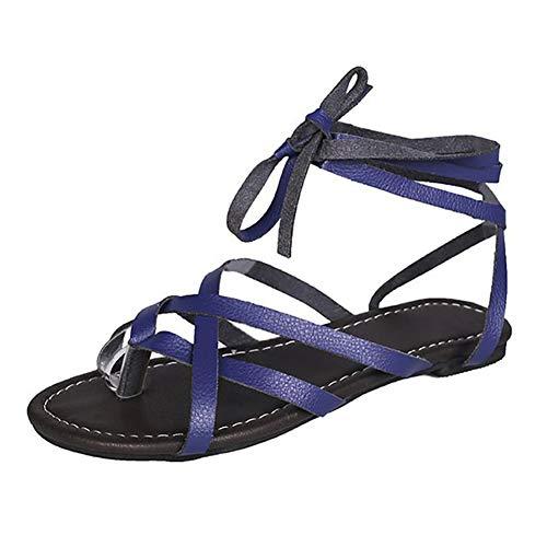 UELEGANS Verano Mujer Cómodos Casual Playa Antideslizante Sandalia Moda Tendencia Cordones Plano Sandalias,Azul,35