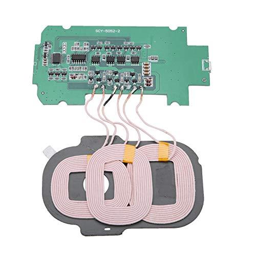 Sharainn Módulo transmisor de Cargador inalámbrico, módulo de Cargador inalámbrico Qi Universal Placa de Circuito de bobinas triples de protección multinivel 5V 2A para teléfonos estándar Qi