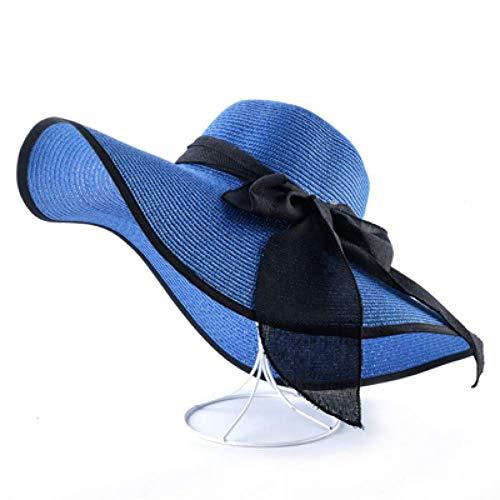 WYRKYP Sombrero de Sol Elegante Sombrero de Paja Señoras Sombrero de Playa Sombrero de Ala Ancha Sombrero de Verano Sombrero Sombrero Sombrero,Azul