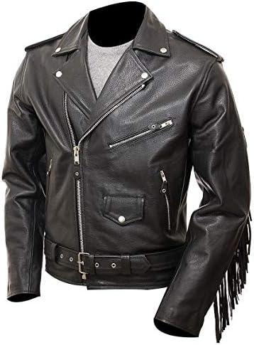 HIGOBO Men's Black Fringe Leather Jacket Men - Classic Black Leather Biker Jacket
