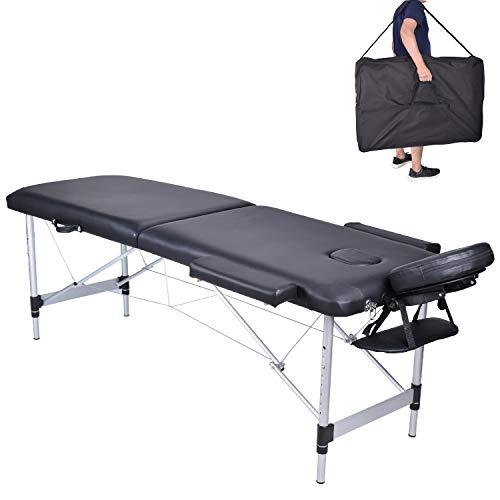 MC Star Table de Massage 2 Zones Aluminium Léger Pliante Lit de Massage Pliable Professionnelle Cosmetique Reiki avec Amovible Appui-tête Accoudoir Sac de Transport Noir