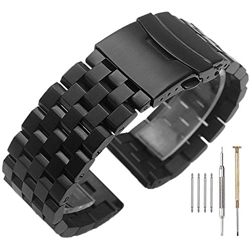 22mm Stainless Steel Watch Band For Men Women Black Engineer Brush Watch Bracelet with Screw Double Lock Deployment Clasp Solid Metal Watch Strap