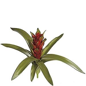 "Silk Flower Arrangements SilksAreForever 15"" Artificial Real Touch Bromeliad Plant Flower Bush -Red (Pack of 4)"