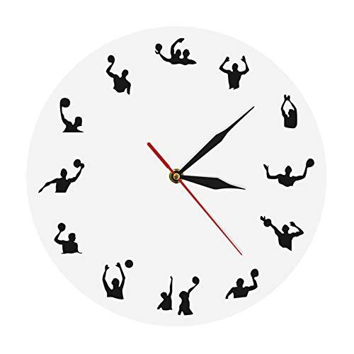 sufengshop Reloj de Pared Moderno de diseño Minimalista de Waterpolo, competición de Pelota Deportiva, Juego de Piscina, Juego de Equipo, Reloj de Pared de Waterpolo de natación, Regalo