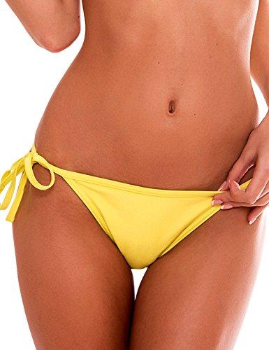 RELLECIGA Damen Bademode Bikini Unterteil im Brasil-Style Gelb M