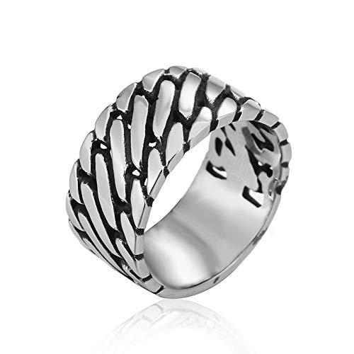 Daesar Edelstahl Ring Herren Biker Kette 12 MM Freundschaftsring Silber Ring für Männer Gr.60 (19.1)