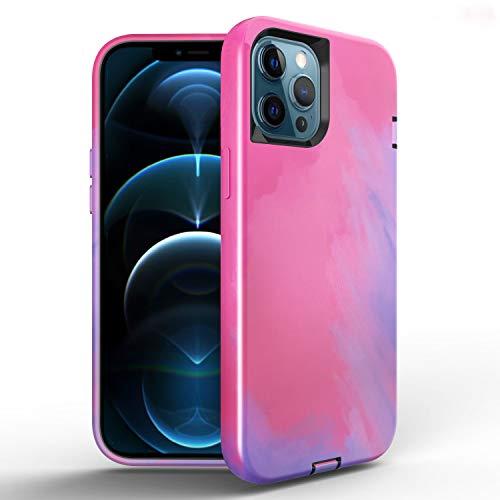 FHZXHY Compatible con iPhone 11 Funda de silicona de color líquido 3 en 1 Funda protectora de cuerpo completo a prueba de golpes antideslizante para iPhone 11 6.1 pulgadas acuarela B