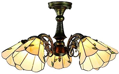 XinQing Candelabros de Estilo mediterráneo Tiffany 5 Cabezas Fondo Blanco Simple Hojas Verdes Pantalla de vitrales Luz de Techo de 26 Pulgadas para Sala de Estar Dormitorio Bar