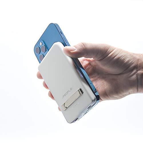 White Power Bank Magsafe 5000 mAh 15 W magnético inalámbrico Mini puerto universal Smartphone soporte mesa pequeño tamaño sin cable puerto USB C ultra delgado enchufe inteligente Titolo