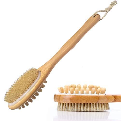 Rückenbürste, Badebürste, Körperbürste Massagebürste mit Langem Stiel Naturborsten Holz Duschbürste für Körper Pflegung, Exfoliating Brush, Haut-Peeling, Verbesserung der Blutzirkulation