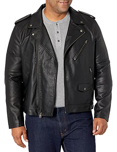 Levi's Men Faux Leather Motorcycle Jacket, Black, Medium