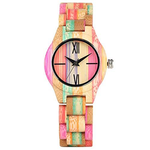 Creative Sunshine Reloj de Madera Arco Iris para Mujer, Reloj de Pulsera de Cuarzo para Mujer, Colorido de bambú, Reloj de Pulsera de Cuarzo Ligero para Mujer