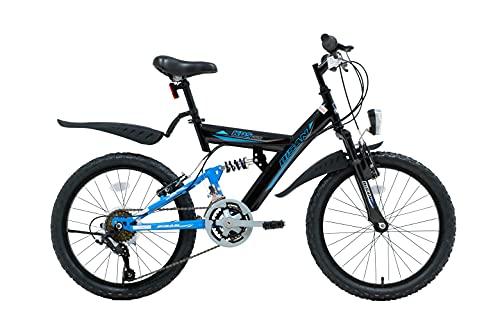 20 Zoll Kinder Jungen Mädchen Fahrrad Kinderfahrrad MTB Mountainbike Fahrrad Rad Bike 10 Gang Beleuchtung Fully VOLLFEDERUNG KDS 2600 Schwarz Blau