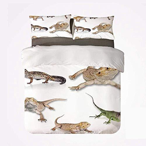 142 WUSI Bettbezug-Set für Reptilien, schönes 3-teiliges Bettwäsche-Set, mehrfarbig, Staring Leopard Gecko-Familie Bild Primitive Reptilien Wildlife Kunstdruck Zuhause für Wohnzimmer