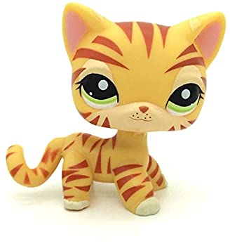 N/N Littlest Pet Shop LPS Toy Orange Tiger Cat Kitten Kitty Green Eyes Toys