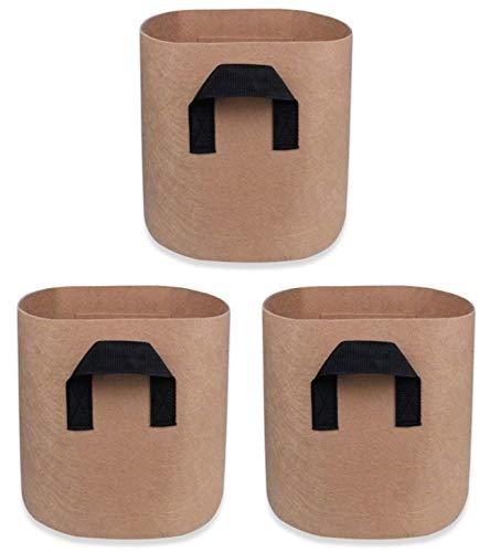 L CLOVER フェルト プランター 栽培袋 ポット 不織布 植木鉢 バッグ ガーデニング 通気性 根域制限 3個セット (ベージュ10ガロン)
