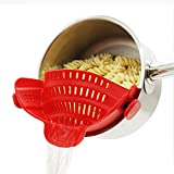 Strainer with 2 Clip for Veggies Pasta Ground Meat and More for Pots Pans,Made...