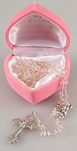 Rosario con cuentas pequeñas de vidrio rosas para niñas