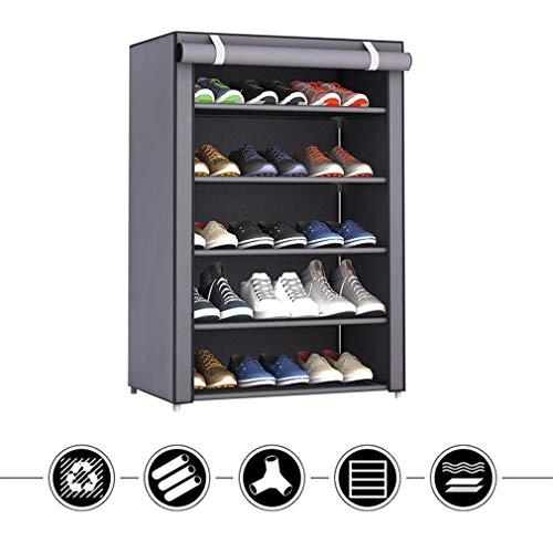 Bigbutterfly Zapatero de 5 niveles, para hasta 15 pares de zapatos, resistente al polvo, 90 x 60 x 30 cm, color gris