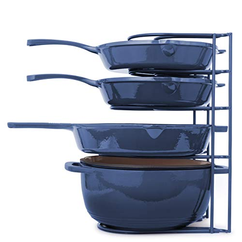Heavy Duty Pan Organizer, Extra Large 5 Tier Rack - Holds Cast Iron Skillets, Dutch Oven, Griddles - Durable Steel Construction - Space Saving Kitchen Storage - No Assembly Required - Blue 15.4-inch