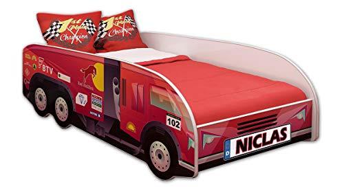 ACMA Kinderbett Autobett Lattenrost LKW Truck Schlafzimmer Kindermöbel Spielbett 140 x 70 cm 160 x 80 cm (160x80 cm mit Matratze, 03 + Name)