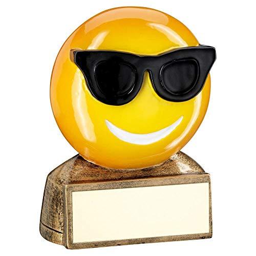 Lapal Dimension Dimensión de Solapa, Trofeo con Figura de Emoji de Gafas de Sol, Color Amarillo, Negro, 2.75 Pulgadas