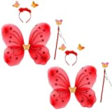 Kaku Fancy Dresses Red Butterfly Wings with Hairband and Wand Stick for Girls