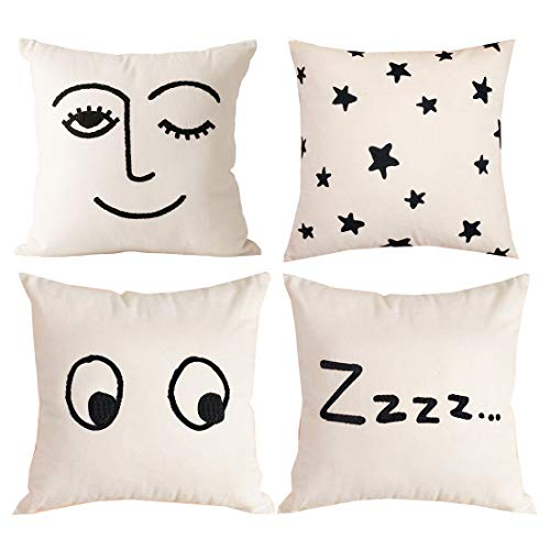 Decorative Throw Pillow Covers,4 Set Funny Black Lash Eyes Graphic Cotton Linen Just Because Gifts for Her Accent Toss Beige Sofa Woven Canvas Fabric quare Cushion Cases for Home Decor 18 x 18''