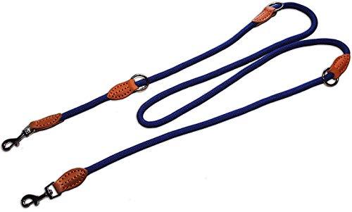 Liefdesfleece nylon hondenriem dubbele lijn, 2 m hondenlijn gevlochten & verstelbaar