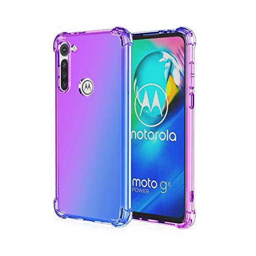 HAOYE para Motorola Moto G8 Power Funda, Funda Gradiente Transparente TPU, Carcasa Cristal Ultra Slim Flexible Suave Silicona TPU Bumper, Reforzar la Cuatro Esquinas Case Cover (Morado/Azul)