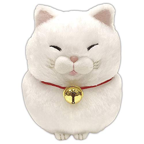 Amuse Higemanjyu Series Plush Cat Doll White 'Mochio' Standard Size (5'x 4'x 5') Japan Import Stuffed Animal Toy Japanese Cat Shironeko Cute Fluffy Comfortable Doll Plush