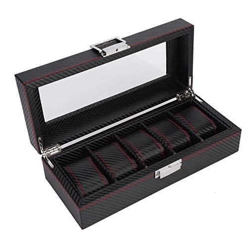 Caja de almacenamiento de reloj estilo fibra de carbono, caja de reloj, 11 x 4,7 x 3,3 pulgadas para la tienda de relojes para el hogar