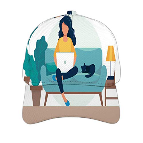Girl with Laptop Sitting on The Chair.Freelance or Studying Concept.Cute - in Flat Style.- Netherlan
