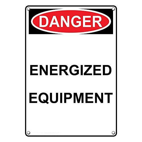 Weatherproof Plastic Vertical OSHA Danger Energized Equipment Sign with English Text